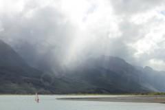 Lone Windsurfer Lake Wakatipu New Zealand