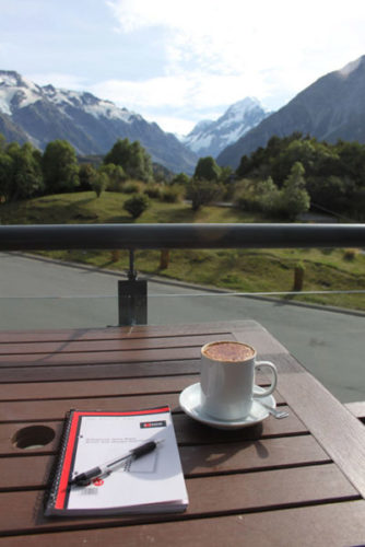 Writing and coffee - Aoraki Mount Cook National Park New Zealand