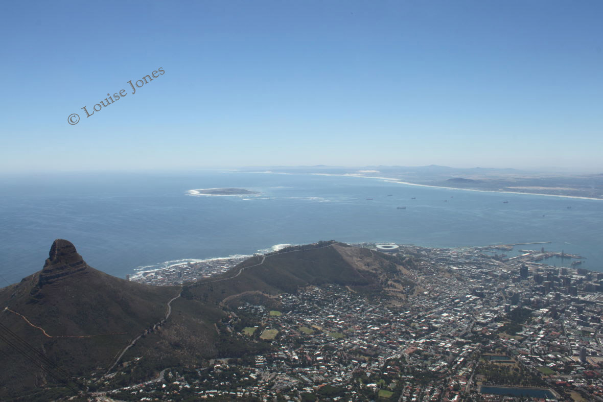 Robben Island from Table Mountain Cape Town South Africa